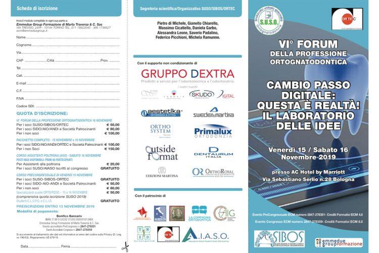 flyer evento VI forum della professione ortognatodontica 15 16 novembre 19