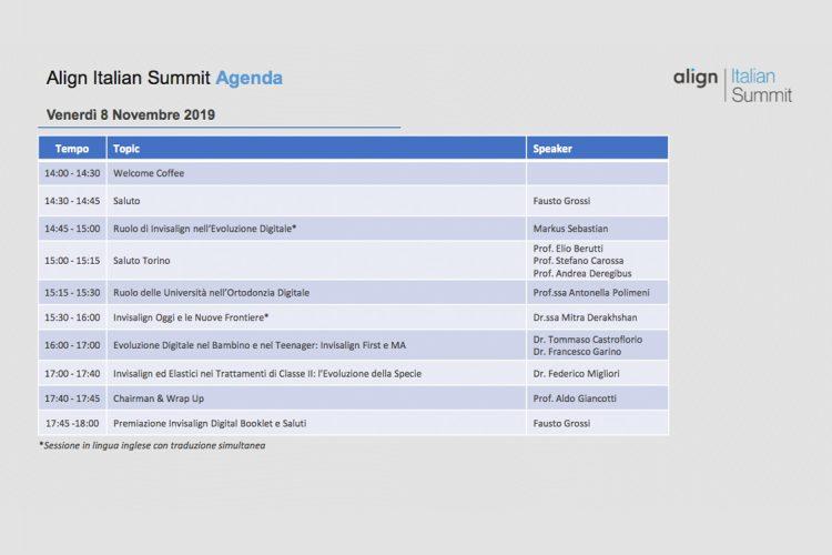 agenda evento esclusivo align italian summit 8 9 novembre 19